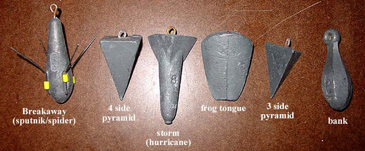 Differences between various types of sinkers for Types of fishing sinkers